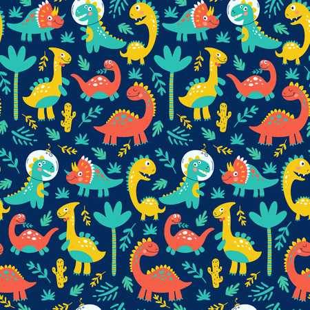 Seamless pattern with cute dinosaurs for children print. Vector illustration Stock Illustration - 119675834