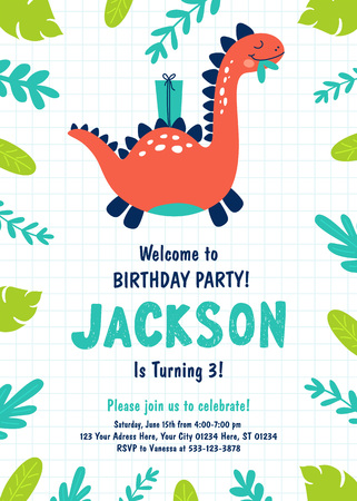 Dinosaur Birthday Party Invitation. Vector illustrations Archivio Fotografico - 119675837