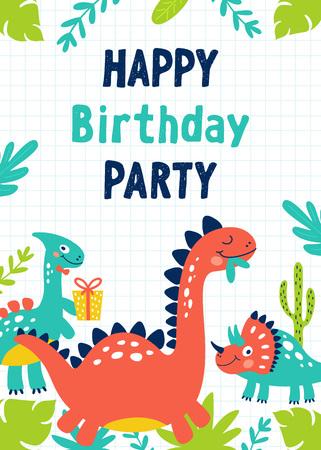 Invitation de fête d'anniversaire de dinosaure. Illustrations vectorielles Vecteurs