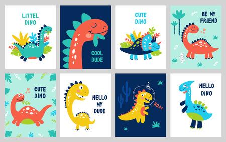 Establecer estampado de bebé con Dino. Puede utilizarse para carteles, tarjetas, pancartas, folletos. Ilustración de vector dibujado a mano.