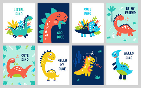 Set baby print with Dino. Can be used for poster, card, banner, flyer. Hand drawn vector illustration.