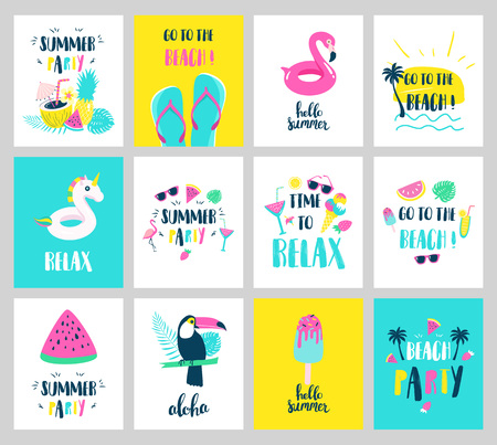 Set of Summer holiday cards. Hand drawn beautiful posters. Vector illustration Çizim