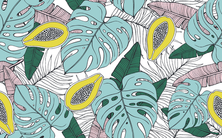 Seamless pattern with papayas and palm leaves. Vector illustration