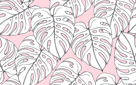 Tropical seamless pattern with monstera on pink background. Vector illustrations Çizim