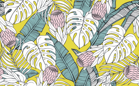 Tropical seamless pattern with palm leaves and exotic protea. Vector illustration