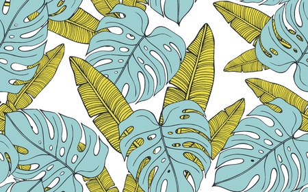 Seamless tropical pattern with banana leaves and monstera. Hand drawn vector illustration Фото со стока