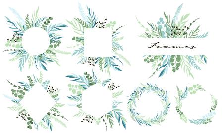 Satz Blattrahmen und Kranz mit botanischen Elementen. Vektor-Illustration Vektorgrafik