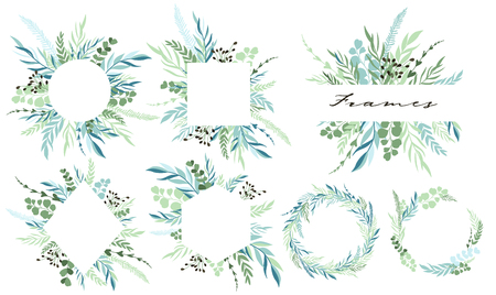 Set of leaf frames and wreath with botanical elements. Vector illustration
