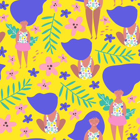 Seamless pattern with relaxing girl on the beach. Vector illustration Ilustração
