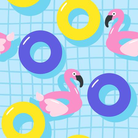 Sommerpool schwimmend mit Flamingo. Nahtloses Muster. Vektorillustration.