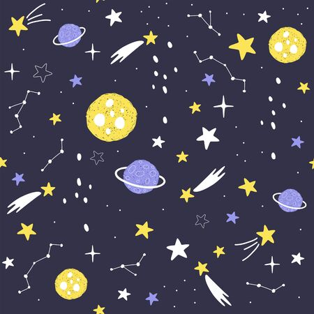 Seamless pattern with cartoon planets, stars and comets. Space Background for Kids. Vector illustrations