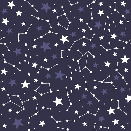 Star constellation seamless pattern. Vector illustrations Фото со стока