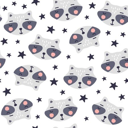 Seamless pattern with cute raccoon. Cartoon background. Vector illustrations