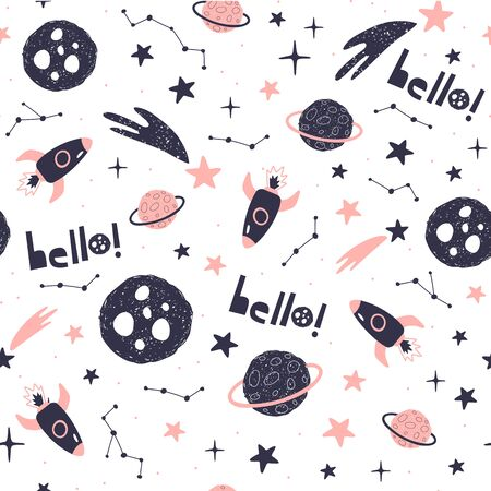 Seamless pattern with cartoon rockets, planets, stars and comets. Space Background for Kids. Vector illustrations