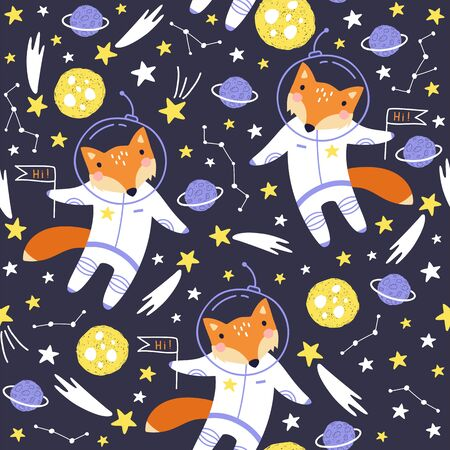 Seamless pattern with cute fox astronaut, planets, stars and comets. Space Background for Kids. Vector illustrations