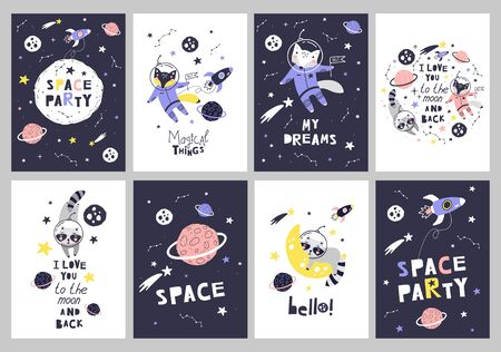 Cute cards with space animals. Can be use for typography posters, cards, flyers, banners, baby wears. Vector illustration