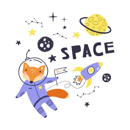 Cute card with fox astronaut, planets, stars and comets. Space Background for Kids. Can be use for typography posters, cards, flyers, banners, baby wears. Vector illustration