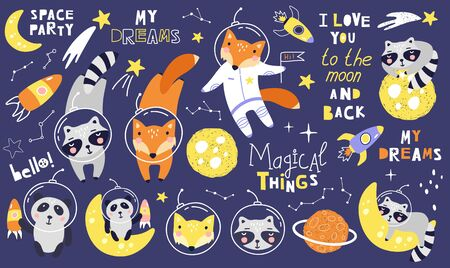 Set space animals with fox, raccoons astronaut, planets, stars, comets and phrases. Vector illustration