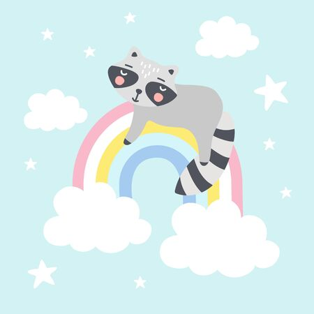 Cute raccoon on a rainbow. Background for Kids. Can be use for typography posters, cards, flyers, banners, baby wears. Vecto illustration