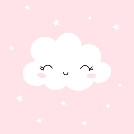 Cute cloud. Background for Kids. Can be use for typography posters, cards, flyers, banners, baby wears. Vector illustration