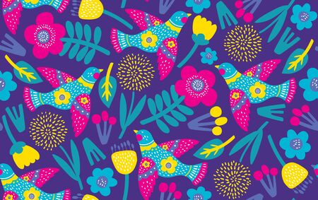 Seamless pattern with flowers and birds. Vector illustrations 스톡 콘텐츠