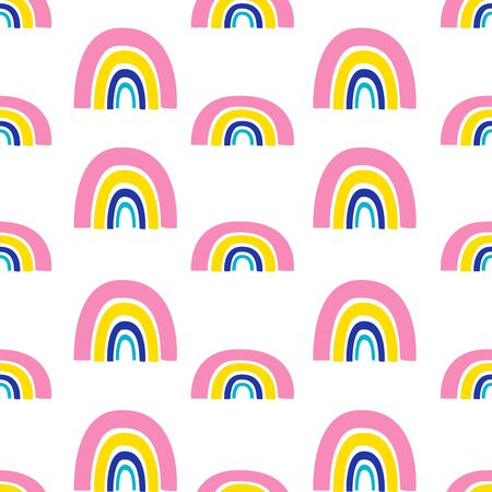 Seamless pattern with colorful rainbow on a white background. Vector illustrations