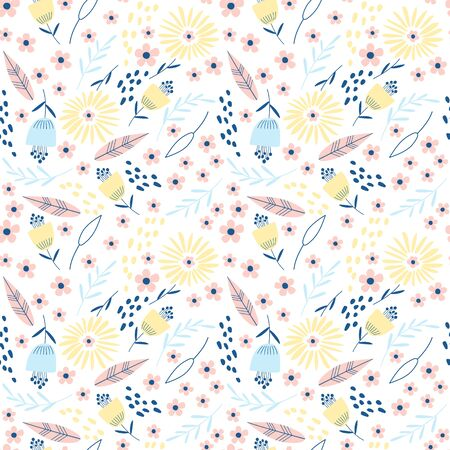 Seamless pattern with flowers on a white background. Vector