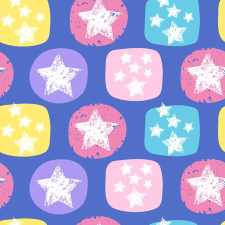 Seamless pattern with colorful stars. Grunge stars Vector illustrations.