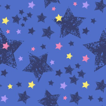 Seamless pattern with colorful stars. Grunge stars Vector illustrations.  Stockfoto