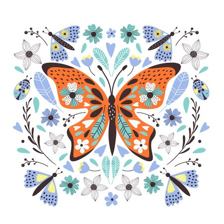 Cute  butterfly for your design. Can de used for t-shirt, cards, bags, banners, posters. Vector illustrations Иллюстрация