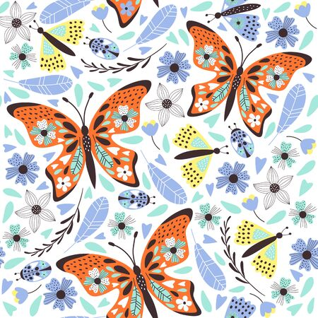 Cute  butterfly pattern with flowers. Vector illustrations Archivio Fotografico - 129260683