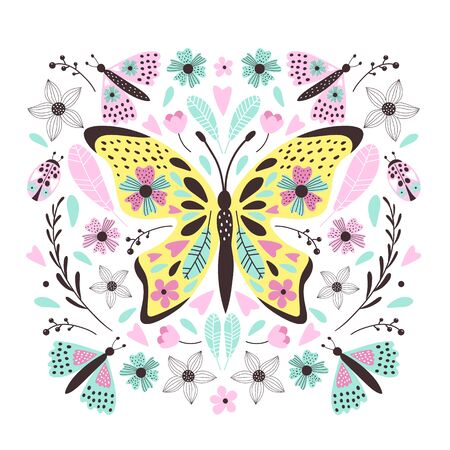 Cute  butterfly for your design. Can de used for t-shirt, cards, bags, banners, posters. Vector illustrations Archivio Fotografico - 129260685