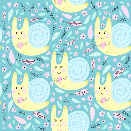 Seamless pattern with snail. Vector illustrations