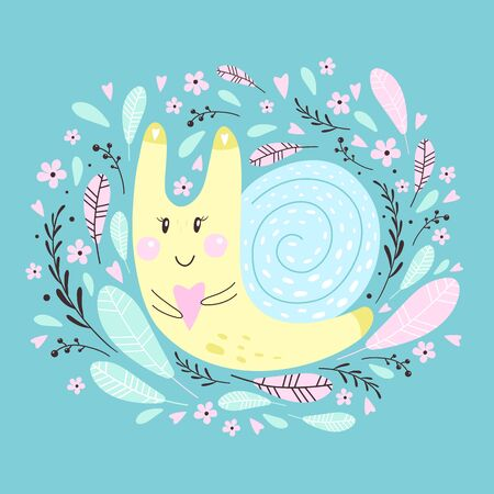 Cute  snail for your design. Can de used for t-shirt, cards, bags, banners, posters. Vector illustrations