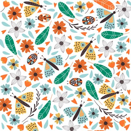 Cute  butterfly pattern with flowers. Vector illustrations Stock Illustratie