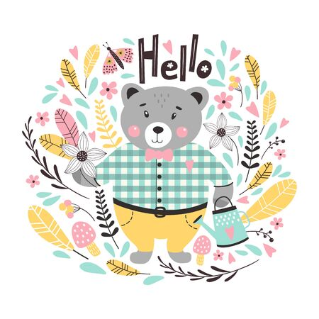 Autumn card with cute bear and leaves. Vector illustrations Иллюстрация
