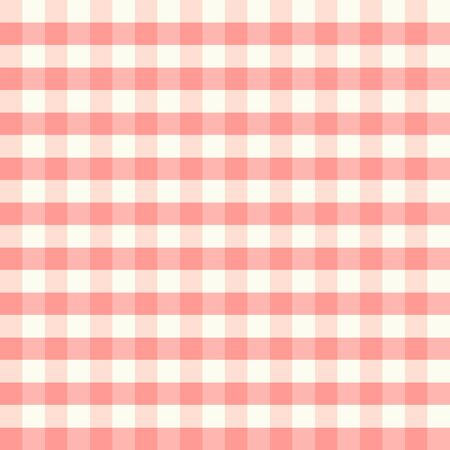 Texture from a cage, seamless pattern. Red checkered fabric. White and red stripes. Geometric background. Vector illustration Иллюстрация