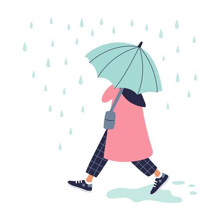 Girl walking in the rain in red coat with umbrella. Autumn design. Vector illustration