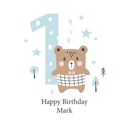 Second birthday greetings card with a cute bear. Kids party with animals. Vector illustration Illustration