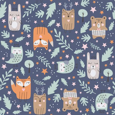 Seamless pattern with cute forest animals. Hand drawn style. Vector illustration