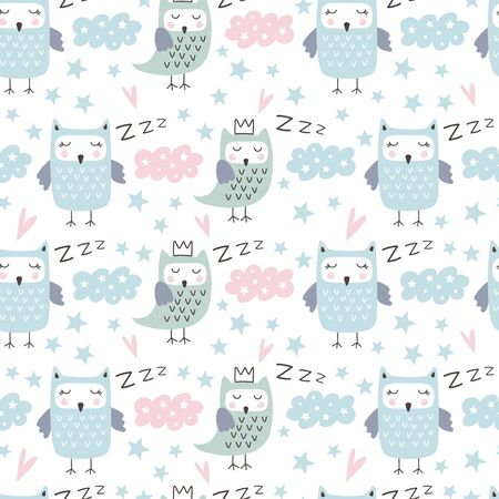 Seamless pattern with cute owl. Forest animals. Cartoon background for Kids. Hand drawn vector illustrations Иллюстрация