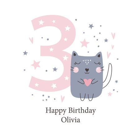Third birthday greetings card with a cute kitten. Kids party with animals. Vector illustration Illustration