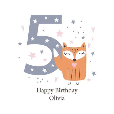Fifth birthday greetings card with a cute fox. Kids party with animals. Vector illustration