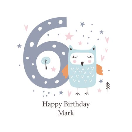 Sixth  birthday greetings card with a cute owl. Kids party with animals. Vector illustration