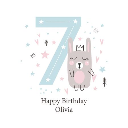 Seventh  birthday greetings card with a cute rabbit. Kids party with animals. Vector illustration Reklamní fotografie - 131398712