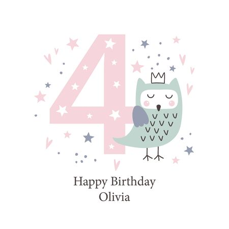 Fourth birthday greetings card with a cute owl. Kids party with animals. Vector illustration Illustration