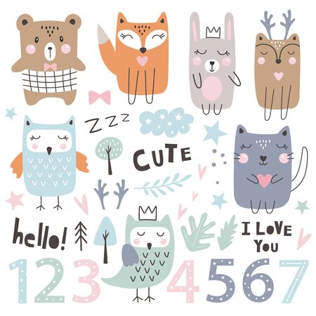 Set with cute  animals, numbers and dsign Elements. Kids party. Hand drawn style. Vector illustration Stock Illustratie