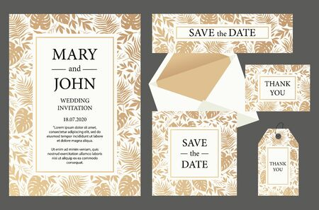 Set Wedding invitation vintage  card with gold leaves. Vector illustration Archivio Fotografico - 131398714