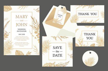 Set Wedding invitation vintage  card with gold leaves. Vector illustration Иллюстрация