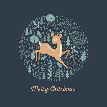 Merry Christmas card with cute deer. Vector illustrations Stock Illustratie